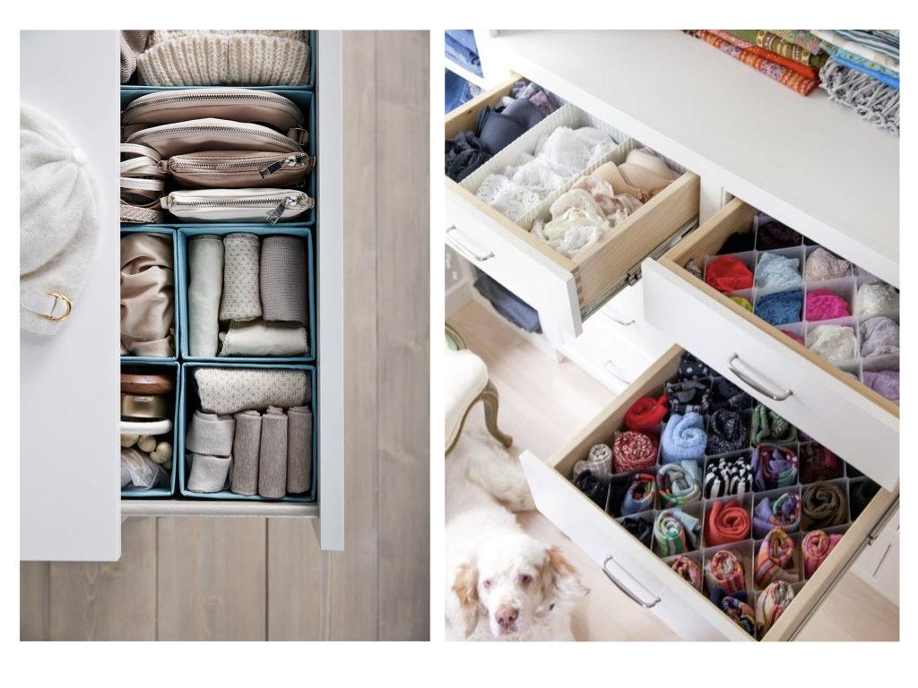 organizador de gavetas, feitas de materiais recicláveis