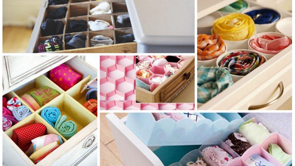 Organizadores de gavetas feitos com vários tipos de materiais e decorados. Exemplo: papelão, rolinhos de papel higiênico, materiais recicláveis, etc