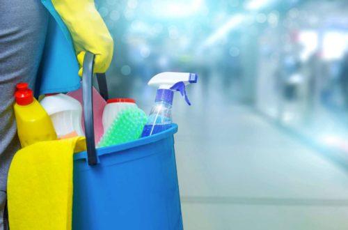 mulher segurando baude com produtos de limpeza